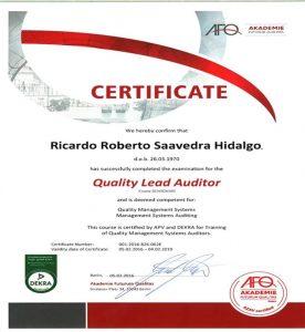 certificacion Ricardo Saavedra